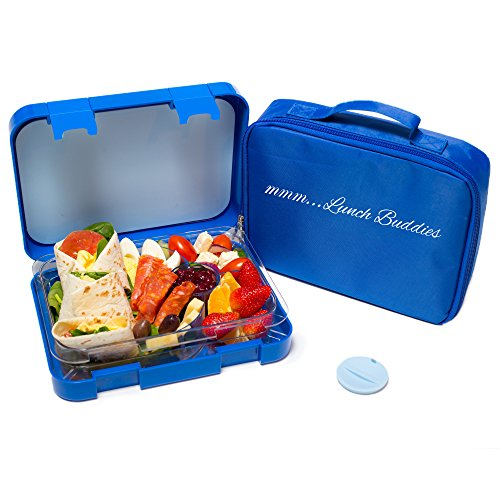 bento boxes bento lunch box blue by mmm lunch buddies double leak proof dual ebay. Black Bedroom Furniture Sets. Home Design Ideas