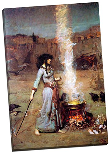 Panther Print John William Waterhouse Magic Circle No.1 Canvas Print Picture Wall Art Large 30X20 Inches