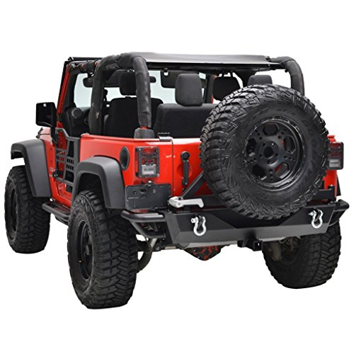 Restyling Factory Jeep Wrangler JK Black Rear Bumper with Tire Carrier and Jeep JK Hitch Receiver