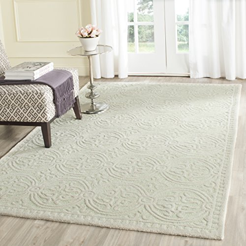 Safavieh Cambridge Collection CAM123B Handcrafted Moroccan Geometric Light Green and Ivory Premium Wool Area Rug (4' x (Green Ivory Rug)