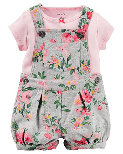 Carter's Girl 2-Piece Pink Tee & Rose Shortalls Set (18 (Carters Shortall)
