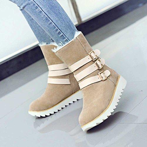 Winter Mid Womens Heel Boots Pull Stylish Low CHFSO Buckle Faux Waterproof Beige Snow Warm Fur On Calf Lined Belt 6gSfxw
