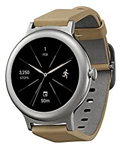 "LG Watch STYLE 42.3mm Smartwatch Compatible with iOS and Android with Built-in Google Assistant ""Ok Google"" (Stainless Steel Silver Case, Gold Leather Band)"