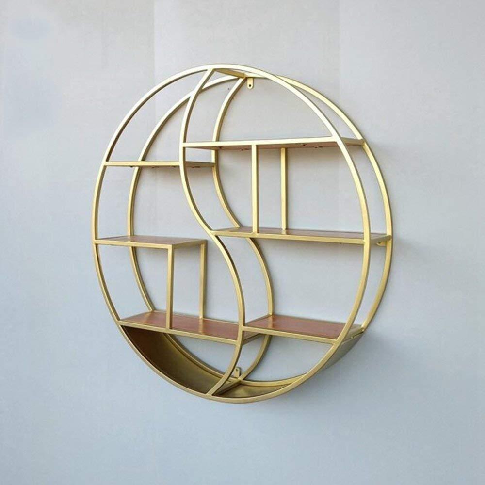 YUEQISONG Shelves 3 Layers Solid Wood Round Shelves Decorative Shelf 68Cm/88Cm, Diameter 88cm, Gold