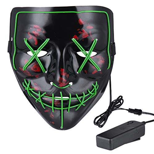 Anroll Halloween Mask LED Light Up Mask for Festival Cosplay Halloween Costume -