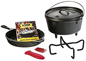 "Lodge 7 Piece Sporting Goods Cast Iron Cookware Set - 10.25"" Cast Iron Skillet, 5 Qt. Camp Dutch Oven, and Accessories"