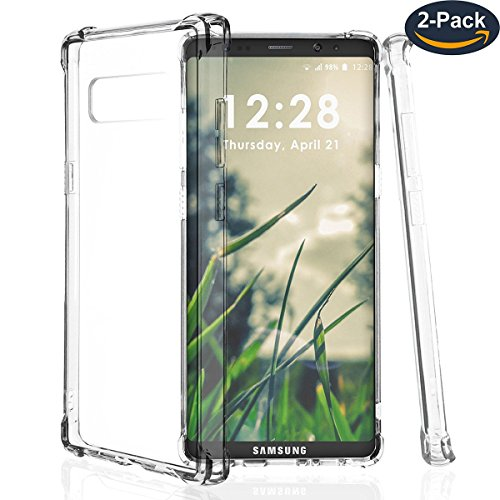 for Samsung Galaxy Note 8 Case Transparent Clear 2Pack Back Cover Soft TPU Light Slim Cell Phone Armor Case Gel Silicone Shock-Absorption Full Protection() (Silicon Clear Case Transparent)