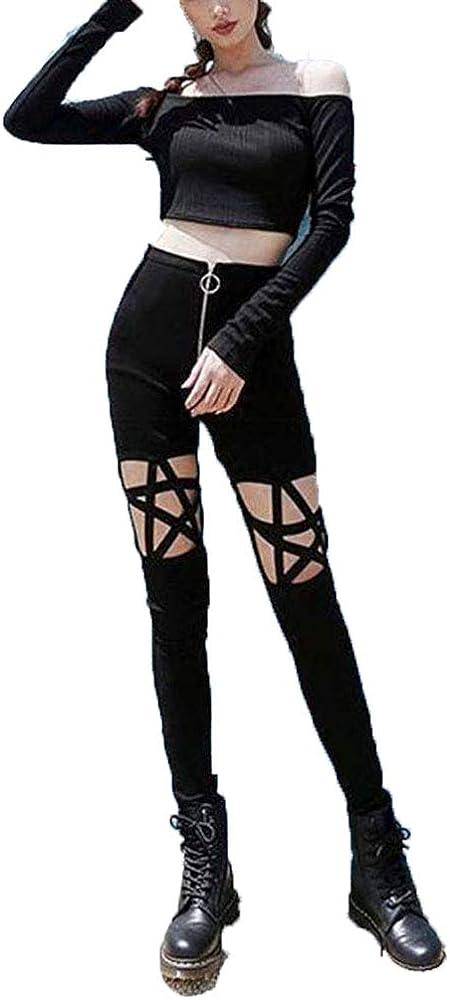 018b172d12e Cimeiee Punk Gothic Women Leggings Hollow Out Five-Pointed Star Pentagram  Pencil Sexy Pants Size