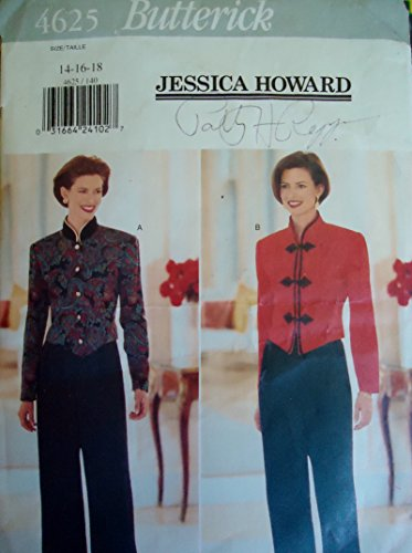 Jessica Pant Suit - Butterick 4625 Sewing Pattern for Misses 14-16-18 Jessica Howard Designer Pants Suit Front Tucked Waist Pants with Back Elastic in Waist with Stand Collar Lined Short Shaped Hem Jacket