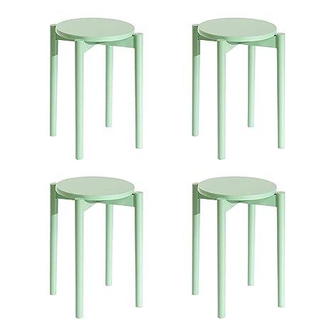 Awesome Amazon Com Rpmdm Stool 4 Pieces Candy Color Wooden Small Creativecarmelina Interior Chair Design Creativecarmelinacom