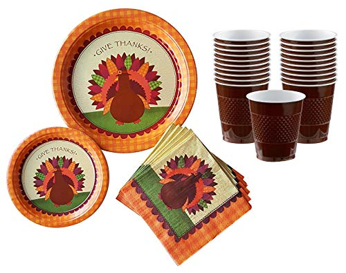Thanksgiving Dinner Give Thanks Turkey Disposable Tableware for 18 Guests - Including Large Dinner Plates, Appetizer or Dessert Plates, Napkins and Matching Cups