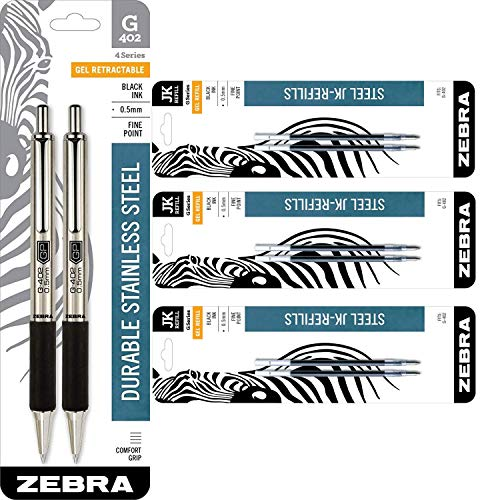 (Zebra Pen G-402 Stainless Steel Retractable Gel Pen & Refills, Fine Point, 0.5mm, Black Ink, 2 Pens and 6 Refills)