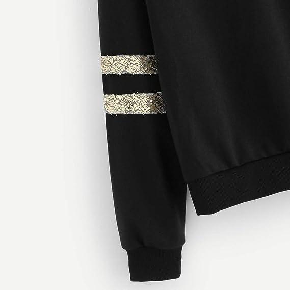 Amazon.com: Womens Sweatshirt Hooded Jacket Crewneck Long Sleeve Sweater Hoodie Pullover Tops Shirt Coat Outwear Fashion Stripe Contrast Sequin Blouse: ...