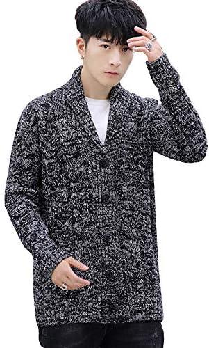 (シュアナウ)SURENOW ニットカーディガン メンズ セーター 長袖 ケーブル ニットパーカー ボタン付き 無地 スリム ジャケット