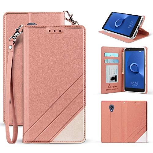 Made for Alcatel IdealXTRA 5059R/ Alcatel 1X Evolve/TCL LX A502DL Premium PU Leather Two Tone Folio Credit Card Slot Wallet Fold Case with Wrist Strap, Magnetic Closure & Free Emoji!~ (Rose Gold)