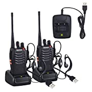 #LightningDeal 83% claimed: Neoteck Walkie Talkies 2 PCS Rechargeable Two-Way Radio UHF 400-470MHz Walky Talky With Original Earpieces, 16CH Single Band with LED Light Voice Prompt for Field Survival Biking and Hiking