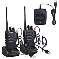 Walkie Talkies Neoteck 2 PCS Walkie Talkie Long Range 16 Channel 2 Way Radio UHF 400-470MHz Walky Talky Rechargeable with USB Charger Original Earpieces for Field Survival Biking Hiking