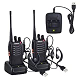 Neoteck Walkie Talkies 2 PCS Rechargeable Two-Way Radio UHF 400-470MHz Walky Talky With Original Earpieces, 16CH Single Band with LED Light Voice Prompt for Field Survival Biking and Hiking