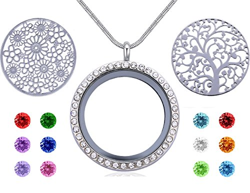Beffy Family Tree of Life Floating Charm Living Memory Lockets,Magnetic Closure 30mm Stainless Steel Necklace