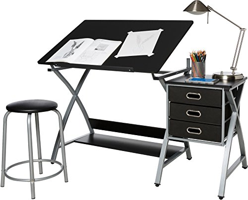 OneSpace 50-CS03 Craft Station with Stool, Black and Silver