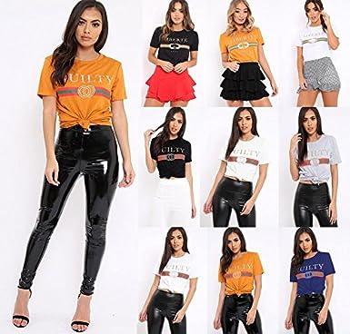 3238f420 Women Guilty Bonjour Liberte Queen Slogan T Shirt Celebrity Inspired Slogan  Tee Shirt Top: Amazon.co.uk: Clothing