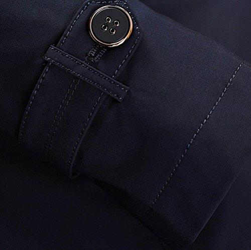 Cappotto Transizione Casuale Lungo Sottile Modo Monopetto Bavero Antivento Degli Uomini Kaki Giacca Funfoa Trench Zw6Sw1aqn