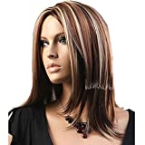 HSG Hot Sell Wigs Fashion Center Part Long Straight Wigs Brown And Blonde Replacement Wigs Women & Girls TF1159