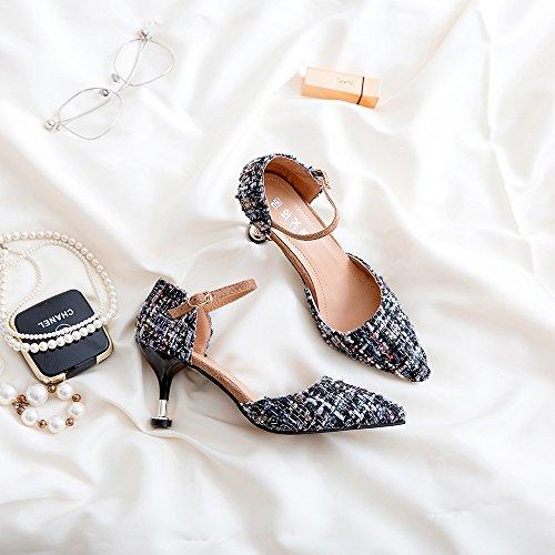Punta Del High-Heel singles femeninos Zapatos Zapatos compacto y elegante y versátil, negro de 7 cm 37