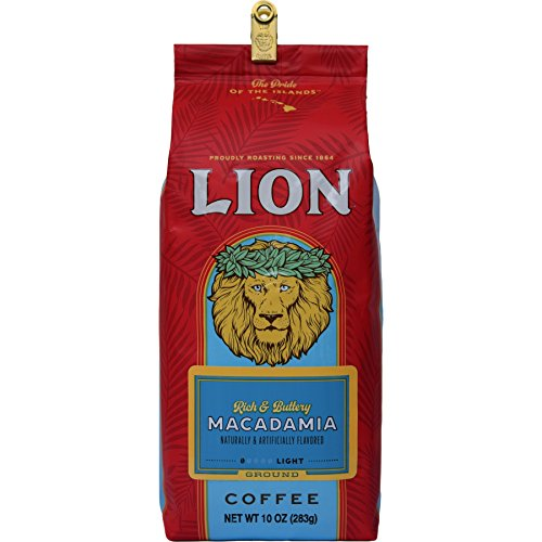 Hawaii Lion Coffee Macadamia Nut, Ground, Light Roast, 10 Oz. Bag with Bag Clip