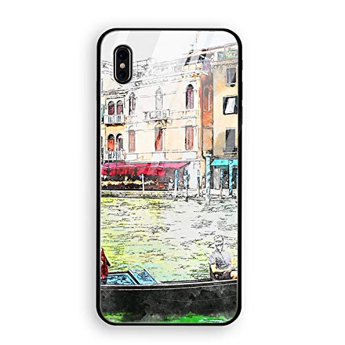 - Phone X Case with Phone stents, Tempered Glass Hard Back Cover Printed Gondola Venice Town Protective Anti-Scratch Shell for Phone X