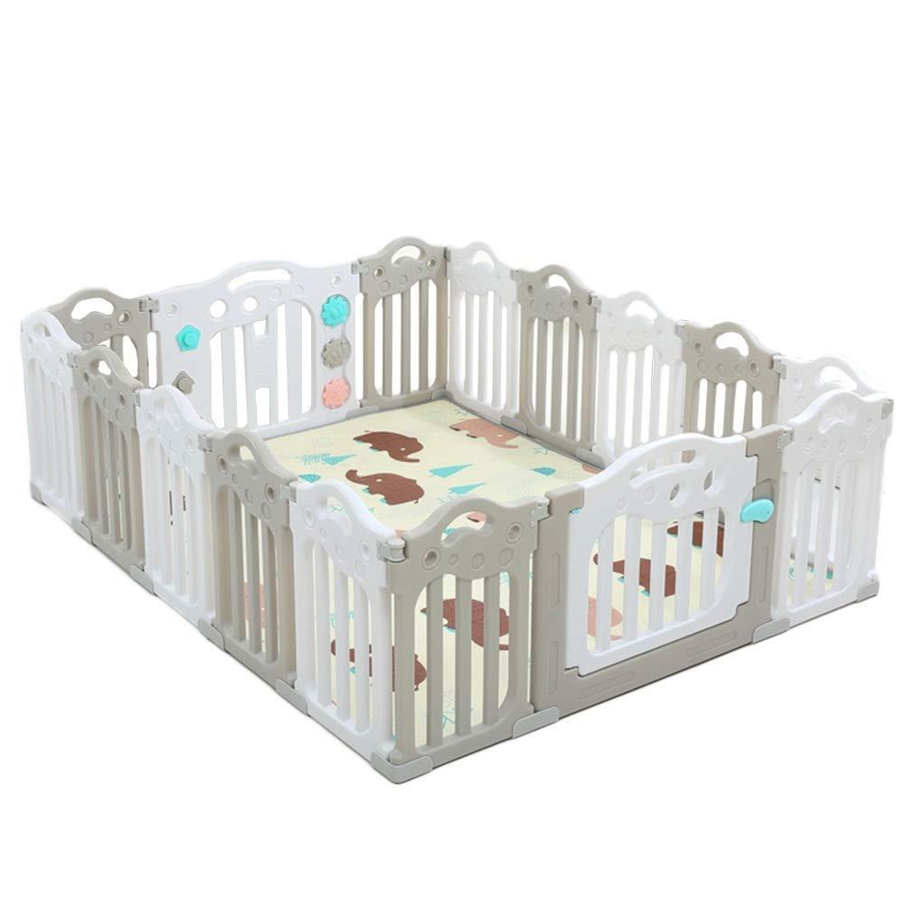 Q.AWB子供ベビーサークルベビーベビーサークル幼児子供用安全柵フロアマット遊び場屋内家庭用 - グレーホワイト(色:A、サイズ:188.5X151.5CMX60CM) 188.5X151.5CMX60CM A B07V2474PY
