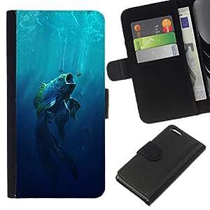 NEECELL GIFT forCITY // Billetera de cuero Caso Cubierta de protección Carcasa / Leather Wallet Case for Apple Iphone 5C // Boca grande Fish