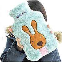 2000ml HOT WATER BOTTLE Winter Warm Rubber Bag & Knitted Cover Relaxing Warmer (Blue Rabbit)