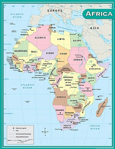 Amazon Com Teacher Created Resources Africa Map Chart Multi Color