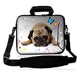 Richen bolsa de mensajero portafolios de transporte con asa bolsillo de accesorios para portátiles/portátil/Libros electrónicos/niños Tablet/iPad, Cute Pug, 7-10.2 inch