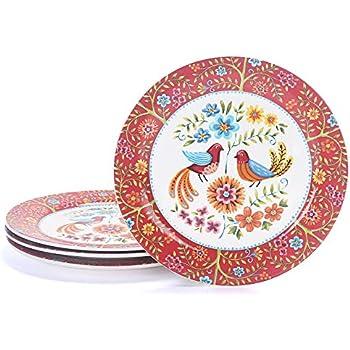 Bico Red Spring Bird Ceramic 11 inch Dinner Plates Set of 4, for Pasta, Salad, Maincourse, Microwave & Dishwasher Safe