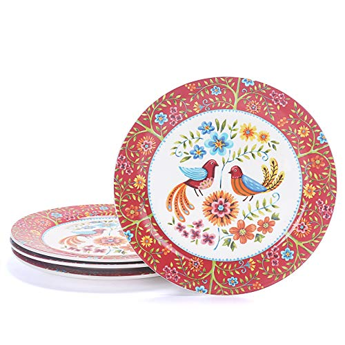 Bico Red Spring Bird Ceramic 11 inches Dinner Plates, Set of 4, for Pasta, Salad, Maincourse, Microwave & Dishwasher Safe, House Warming Birthday Anniversary Gift