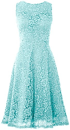 MACloth Women Open Back Lace Short Wedding Party Dress Formal Cocktail Prom Gown Aqua
