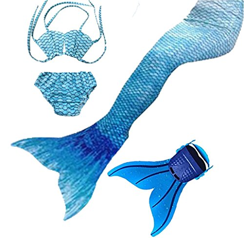 Kids Girls Sparkle Mermaid Tail with Monofin Swimmable Swimwear 4pcs Sets (140 (10-12 Years), Water Blue)