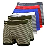 Men's Seamless Boxer Brief Stretchable Underwear 6-pcs Set, Assorted Colors