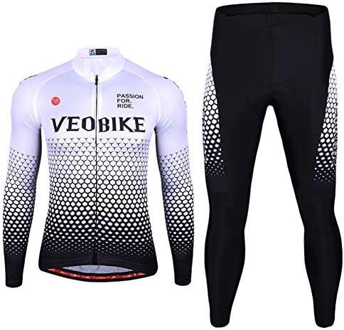 ユニセックスサイクリングジャージーセットバイクバイクアウトドアスポーツ服長袖シャツパンツ3Dパッド入り自転車
