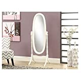 Monarch Specialties Solid Wood Oval Cheval Mirror, Antique White