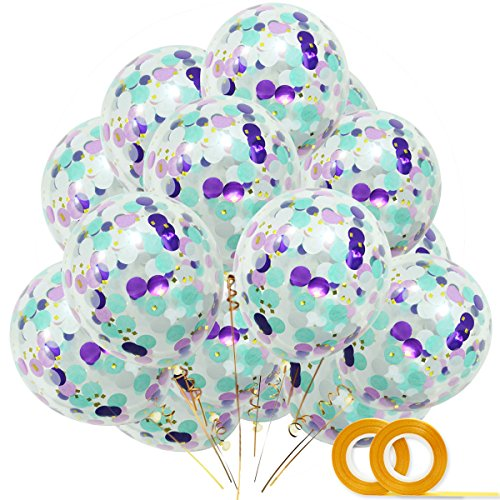 (Mermaid Confetti Balloons 20pcs, White Dark Purple Light Purple Aqua Blue Gold Confetti Balloon 12