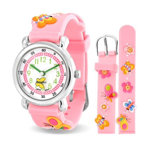 Price comparison product image Bling Jewelry Pink Girls Butterfly Flower Kids Watch Stainless Steel Back