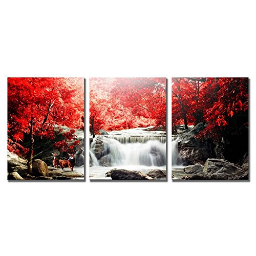 modeart Waterfall Wall Art Artwork Oil Painting For Living Room Modern Deer Playing Under The Red Woods Canvas Printed Paintings for Home Wall Decorations (16