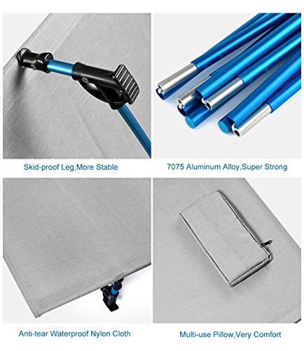Travel or Portable Beds Camp with for Bed Outdoor Aluminium Alloy Kids Ultralight Metal Single Bed Folding Bag Cot Camping Storage Fishing Adult Frame Hiking Tent Blue Xd1gWq
