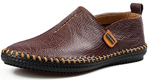 PPXID Mens British Style Handwork Slip-On Loafers Casual Leather Shoes Dark Brown CbQj8rdT