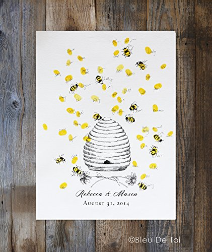 Honey Bee Hive with thumbprint bees, Guest book fingerprint alternative art (with 1 ink pad & 1 pen)