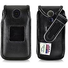 Consumer Cellular Alcatel GO FLIP Black LEATHER Flip Phone Fitted Case also for ATT Cingular FLIP2 and T-mobile 4044W Turtleback Case Ratcheting Removable Belt Clip