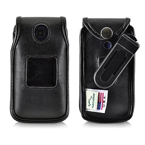 Consumer Cellular Alcatel GO FLIP Black LEATHER Flip Phone Fitted Case also for ATT Cingular FLIP2 and T-mobile 4044W Turtleback Case Ratcheting Removable Belt Clip